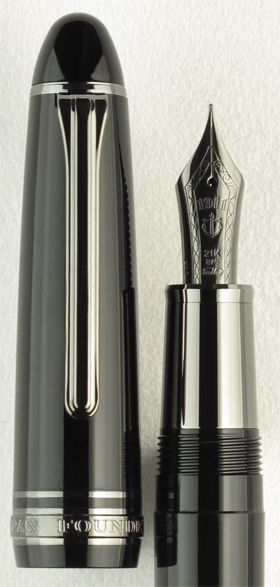 Sailor 1911 Black Luster. The new Sailor 1911 Black Luster fountain pen adds sleek modern style to the flagship 1911 Full-Size Series.  Notice the specially weighted metallic gripping section, which complements the monochromatic, streamlined look and also adds to the balance for those who prefer a pen with a weightier gripping section. The 21k solid gold black ion plated nib, along with the black ion plated trim, harken back to Sailor's Pro Gear Imperial Black fountain pen. Our Price $392.