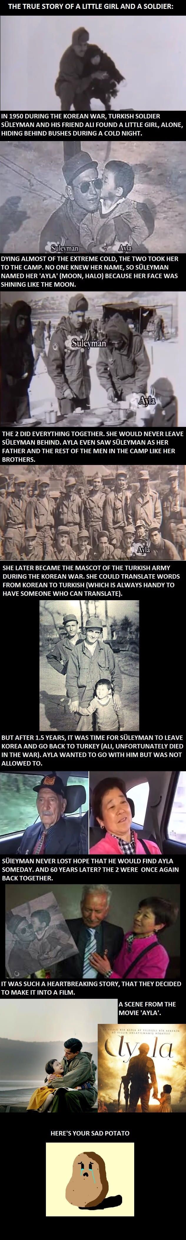 The sad and true story about a little girl and a soldier. tries not to cry cries a lot