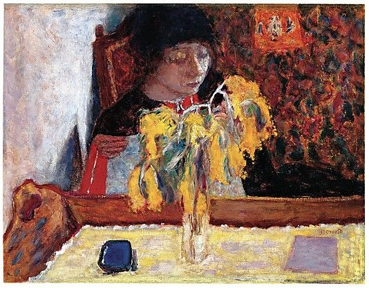 Woman with Mimosa -- Pierre Bonnard  (French, Fontenay-aux-Roses 1867–1947 Le Cannet). At the Met