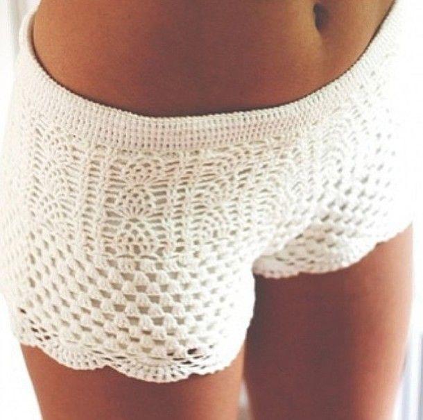 Shorts: white, crochet, crochet shorts, pretty, cute - Wheretoget