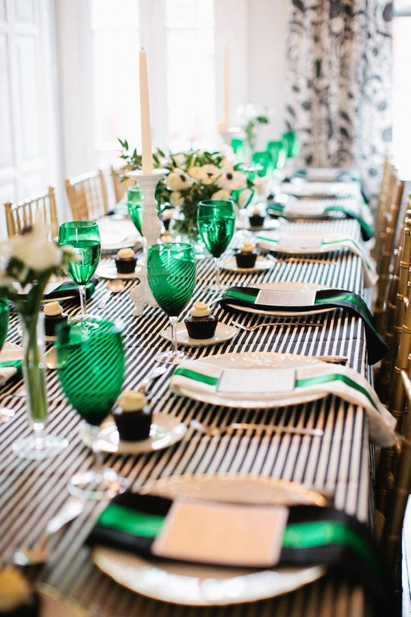 party color palette: black/white, green, gold