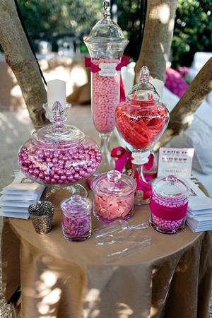 Reception Centerpieces On a Budget | Reception Candy Buffet - Receptions on a Budget