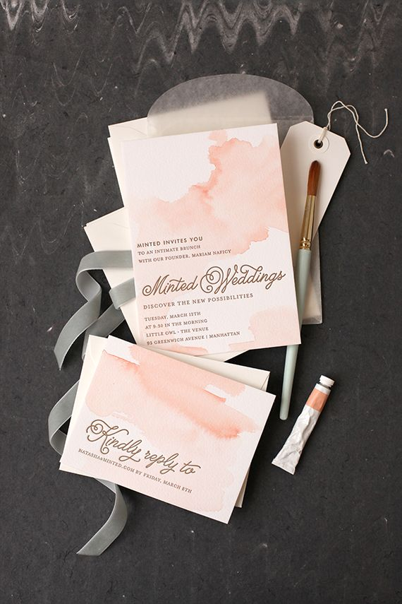 Set the tone for your dreamy wedding with a watercolored letterpress wedding invitation from Minted.