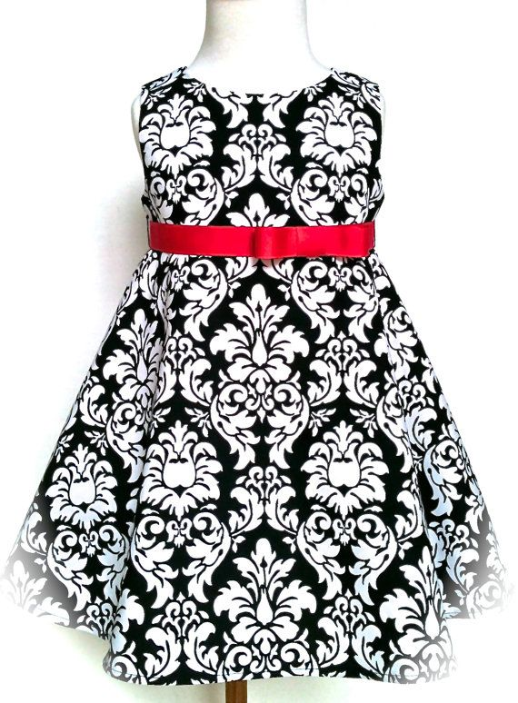 Toddler Dress Black and White Damask with Pink Belt Special Occasion Dress Sizes 2T - 4T by 8th Day Studio on Etsy, $53.66 CAD