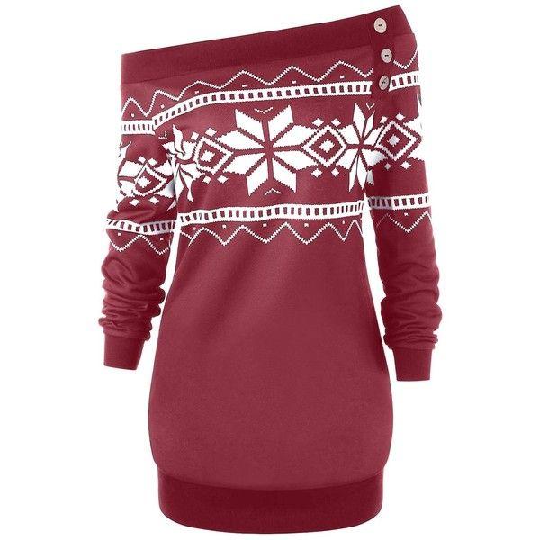 Plus Size Pullover Snowflake Geometric Skew Neck Sweatshirt (1,025 MKD) ❤ like... 2
