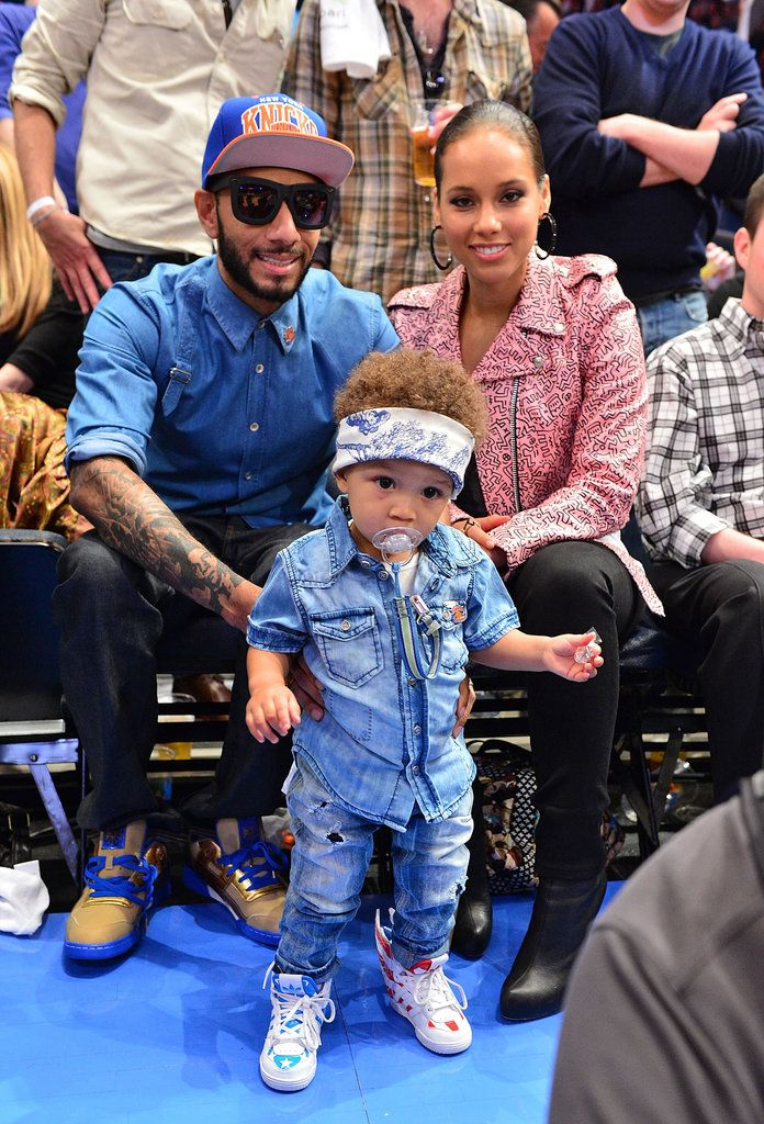 Swizz Beatz and Alicia Keys were with baby Egypt when they watched the NY Knicks take on the Miami Heat in May 2012. #celebrities #celebrity dads #celebrities' kids