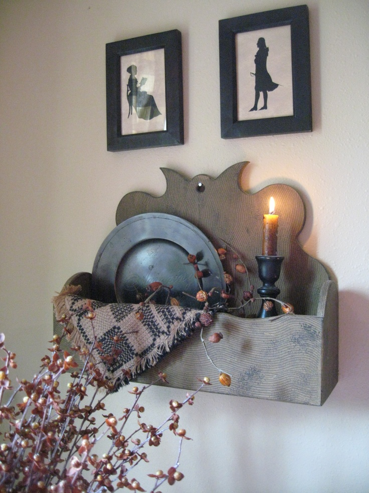 Primitive Wall Box...with Candle, Woven Runner U0026 Pewter Dish. Nice Design