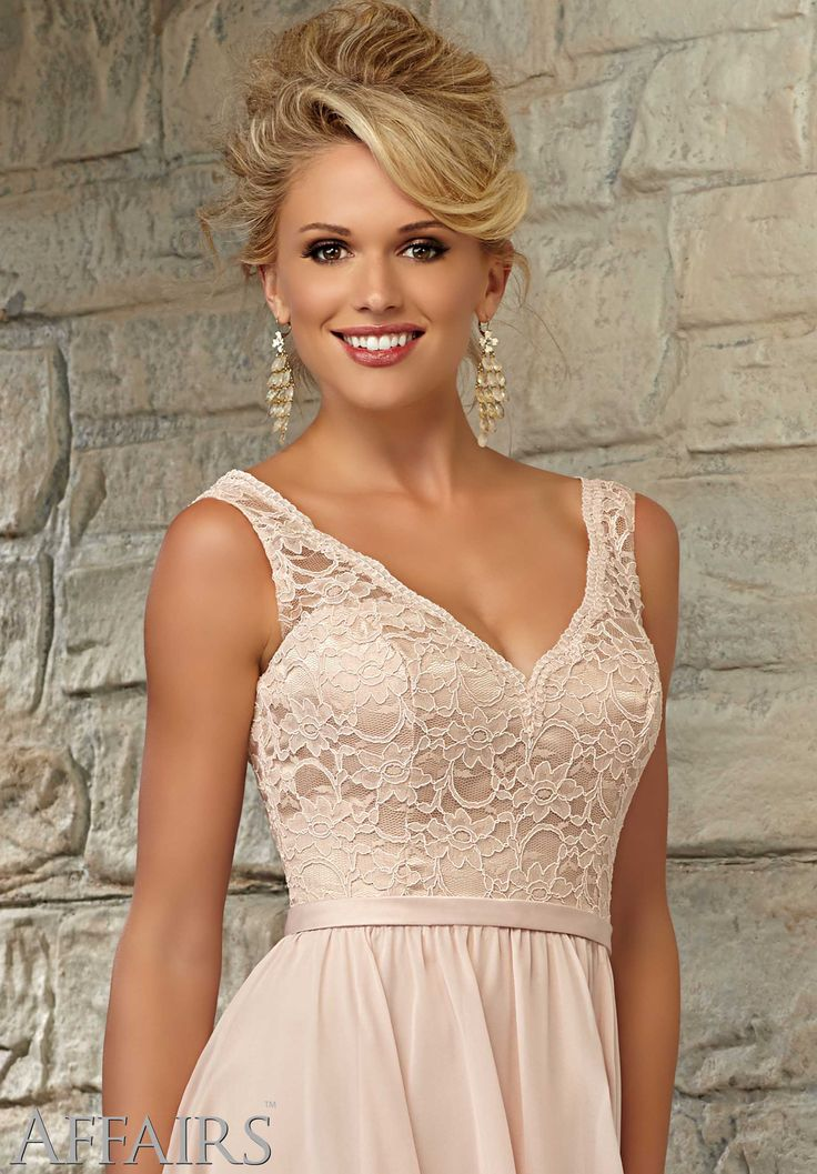 Knee Length Bridesmaid Dress With Lace Bodice And Chiffon