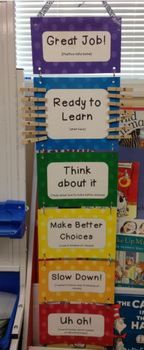 This behavior chart is perfect for any early childhood classroom. It gives students the opportunity to come back from bad behavior and even allows them to move up for positive reinforcement. It is simple and will look great in any classroom. It can be used with clothes pins as shown, or with magnets on a board.