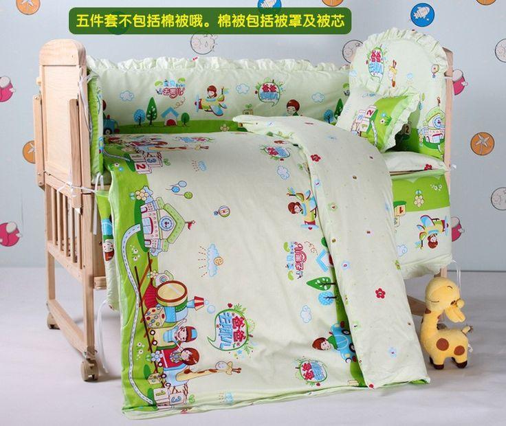 Продвижение! 7 шт. детская кровать 100% хлопок детское постельное белье комплект кусок установить детскую кровать вокруг set ( бамперы + матрас + подушка + одеяло )
