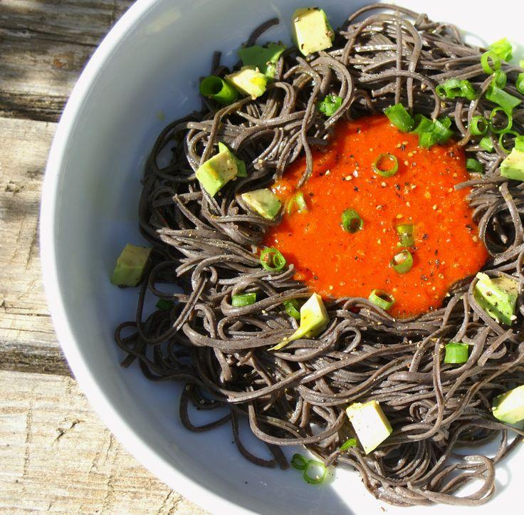 Vegan Black Bean Spaghetti with Paprika Sauce