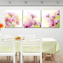 3 pannelli modern wall painting pictures galsang fiore kitchen restaurant il decorativa della parete della pittura a olio di arte della tela di canapa semplici nizza(China (Mainland))