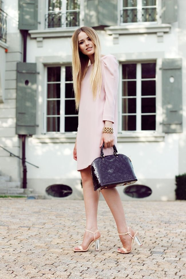 classic nude dress with signature bag