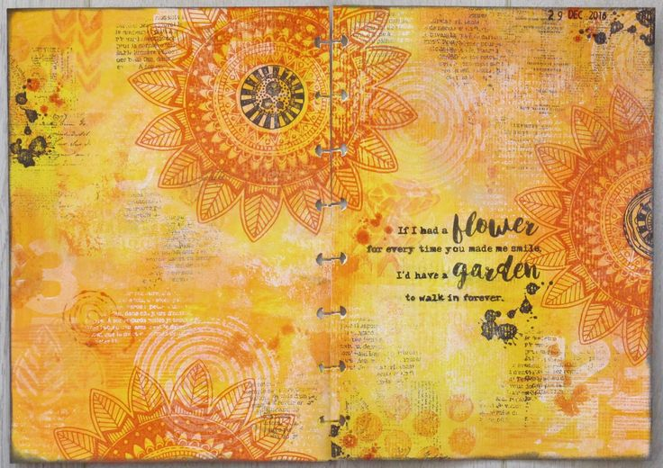 Round Robin Art journal page.  Use stamps
