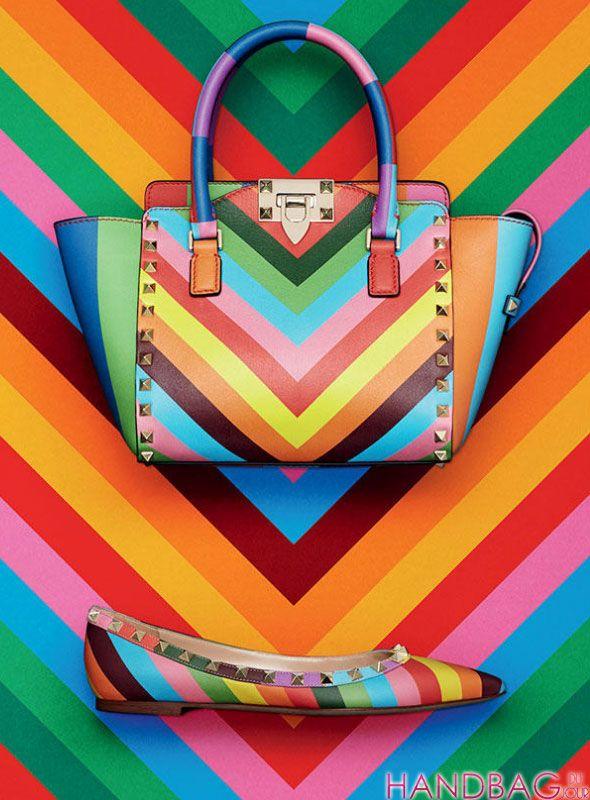 Valentino rainbow Rockstud Resort 2015 handbags and sandals
