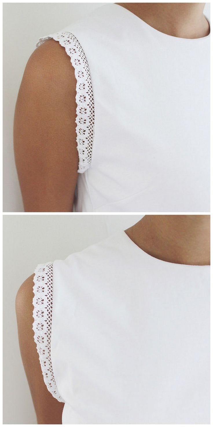 """truebluemeandyou: """"DIY Lace Trimmed Tee Shirt Tutorial from A Pair & A Spare. This tank top restyle, trimmed with lace, is a so cheap and easy to make. No sewing machine is needed - just lace trim...."""