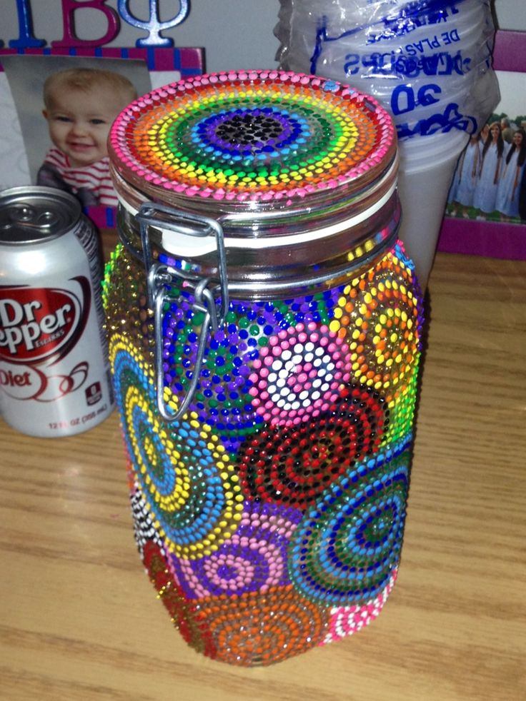 puffy paint to decorate mason jars cups etc me gusta