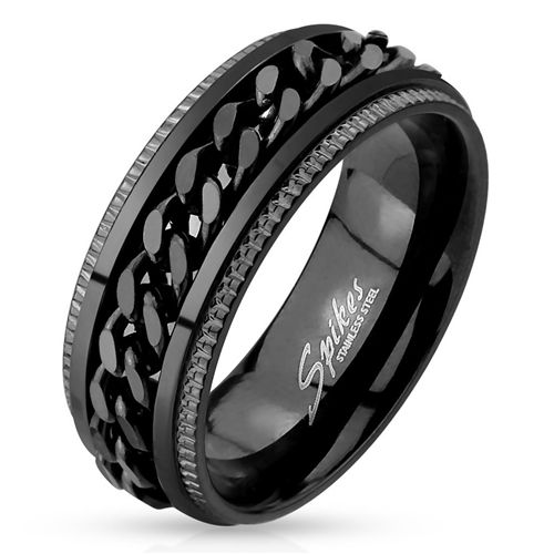 Total Blackout Chain Spinner Ring Men S Stainless Steel Comfort Fit Band This Very Cool Total Stainless Steel Rings Black Stainless Steel Chain Rings For Men
