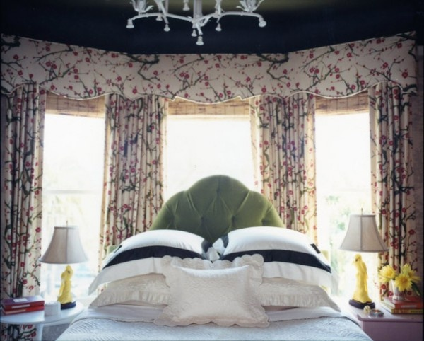 Bed in window green velvet headboard bedrooms pinterest bay windows layout and bays Master bedroom bed against window