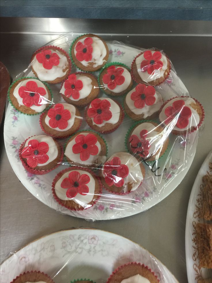Cupcakes decorate with poppies ....made for some special people for Anzac Day ( not a real good picture )