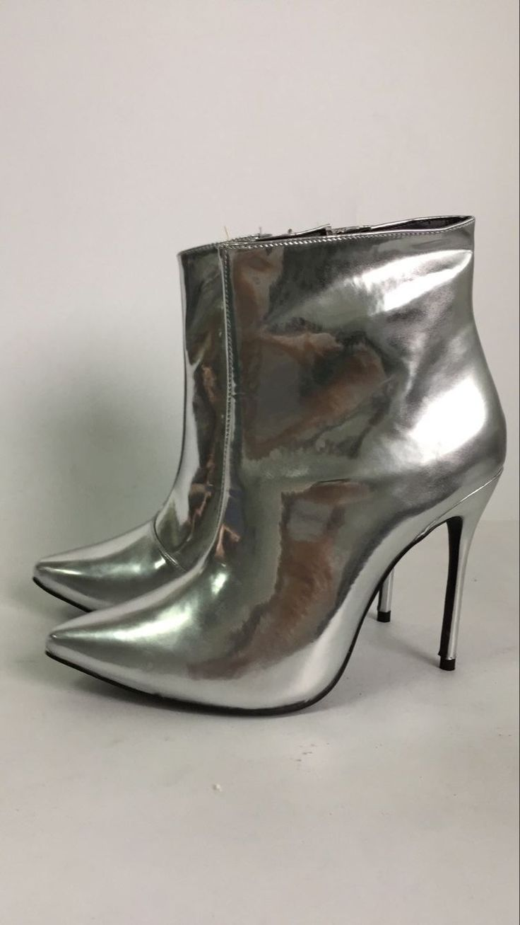 Hot Selling Cool High Heels Autumn Fashion Women Ankle Boots Street Style Gold Silver Metallic Patent Leather Pointed Toe Boots