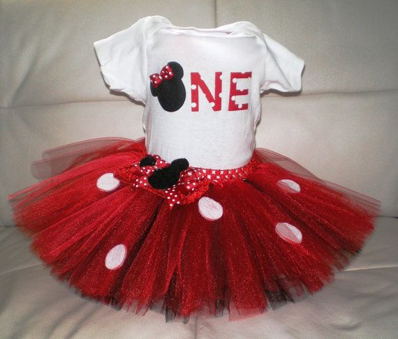 This listing is for an adorable Minnie Mouse inspired onesie, headband, and tutu set. This would be so cute for a birthday, photos, halloween
