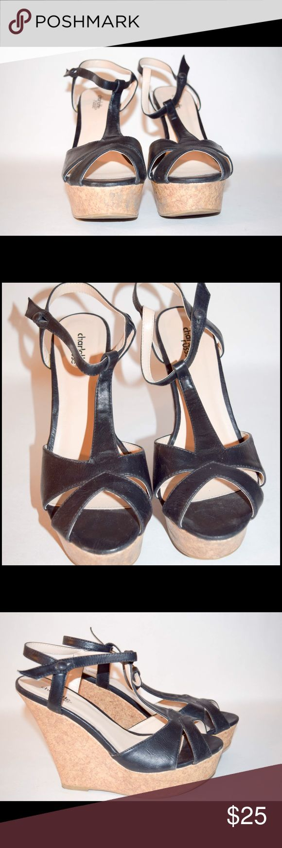 Black Charlotte Russe wedges Only warn once for a few hours!! Super cute black wedges!! Charlotte Russe Shoes Wedges