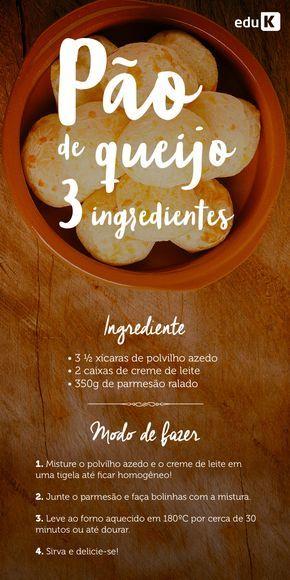 Quem não adora uma receita fácil, prática e deliciosa de pão de queijo, não é mesmo? E na eduK você encontra muitos mais!