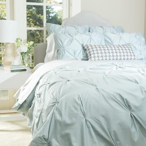 Bedroom inspiration and bedding decor   The Valencia Porcelain Green Pintuck   Crane and Canopy