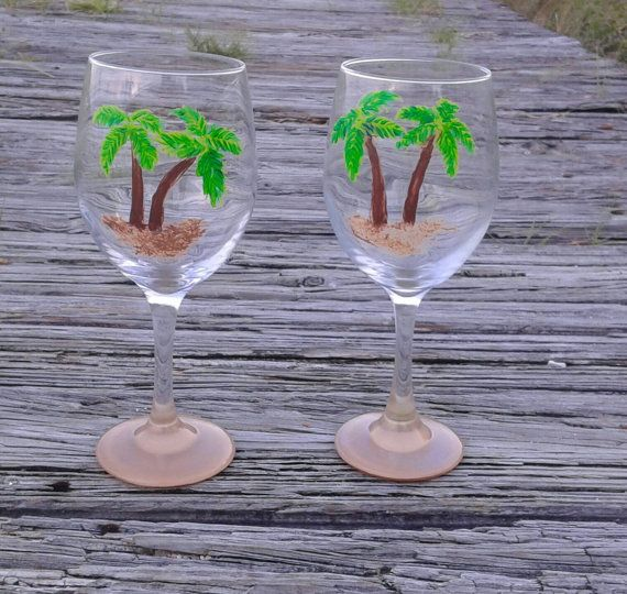 Check out this item in my Etsy shop https://www.etsy.com/listing/242452074/palm-tree-wine-glasses-hand-painted-wine