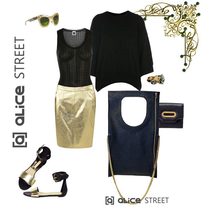 В моду вернулся металлик! Юбка из натуральной кожи золотого цвета и в поддержку ей стильная сумка с дорогой фурнитурой