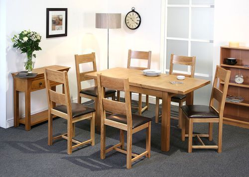 Calgary, extended dining table, oak, dining set, dining chair,  faux leather.