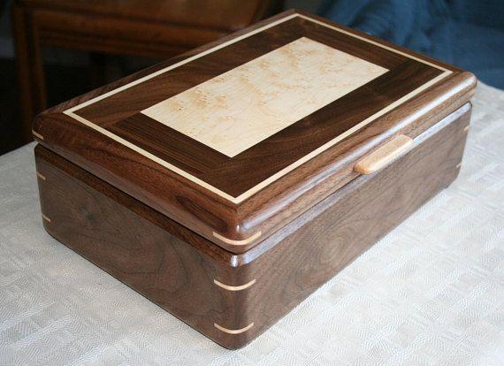 black walnut wood and birdseye maple jewelry box wooden