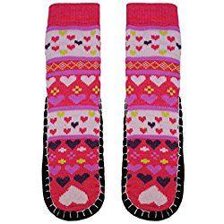 VALENTINE'S DAY GIFT - Basico Women Knitted Home Slipper Socks with NON Slip Bottom (Heart-Red Pink)