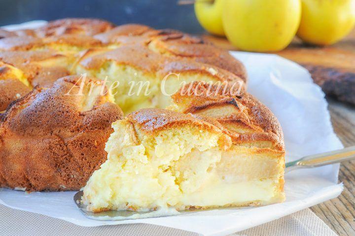 Torta nua alla crema pasticcera con mele, ricetta dolce sofficissimo, facile, torta da merenda o colazione, torta morbida farcita, ricetta veloce, dolce alle mele