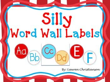 Aqua and Red Wacky Themed Word Wall Labels