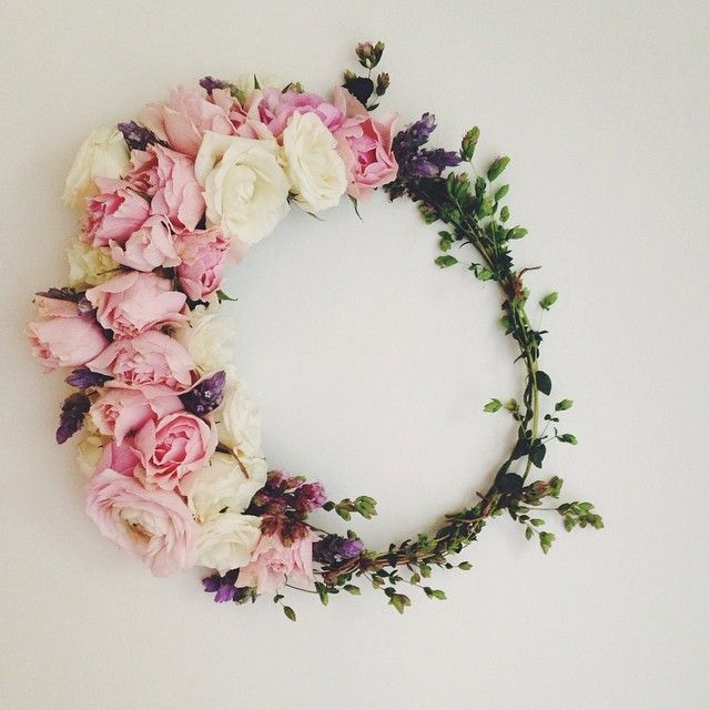 Fresh flower crown by Flower Girl Los Angeles.