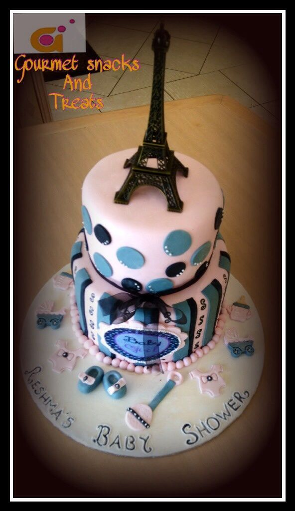 French theme baby shower cake