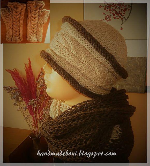 HandmadeBoni: Zimowy komplet - czapka, komin i mitenki . Zrób ra...