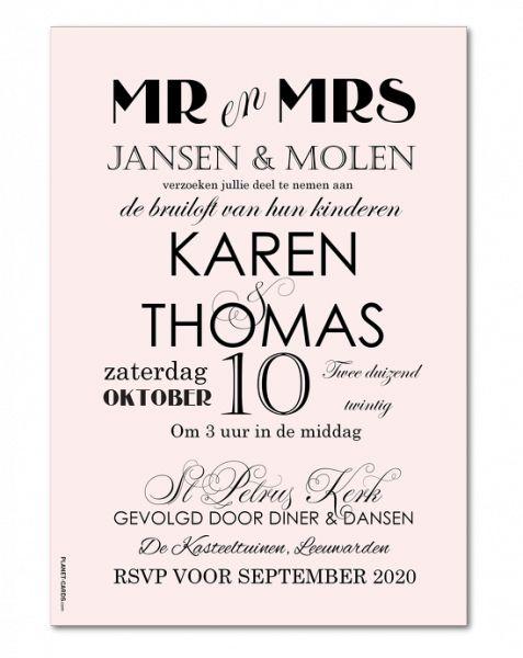 Moderne huwelijksuitnodigingen│ Planet-cards.nl