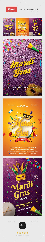 Mardi Gras Flyer Template PSD Bundle