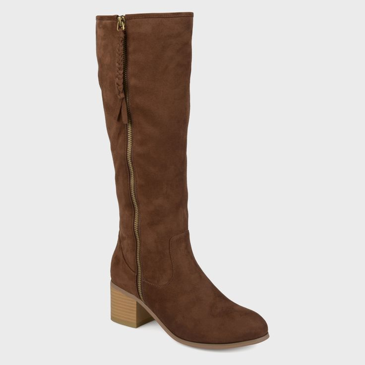 Women's Journee Collection Sanora Stacked Wood Faux Suede Heel Mid-calf Boots - Brown 10 WC, Size: 10 Wide