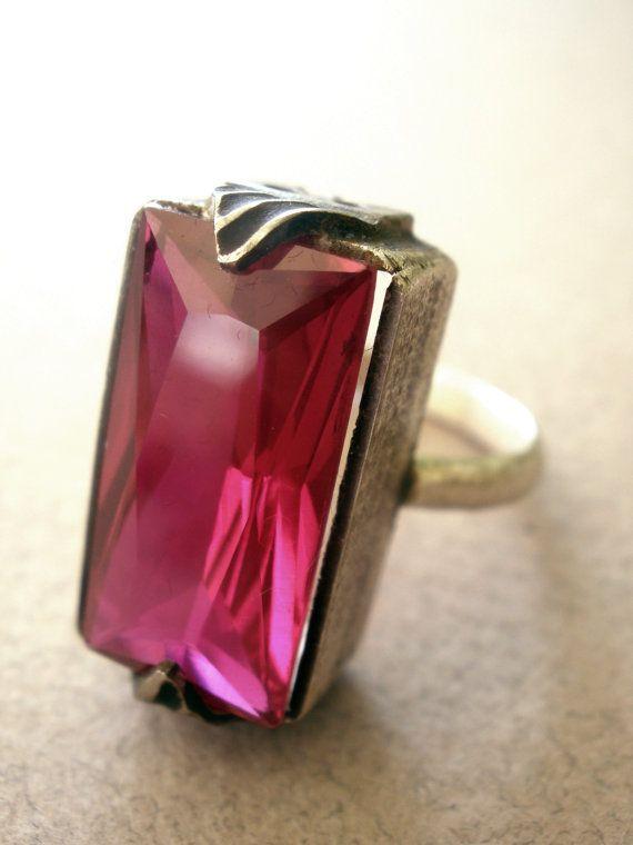 Ruby Red Zircon handmade sterling silver ring