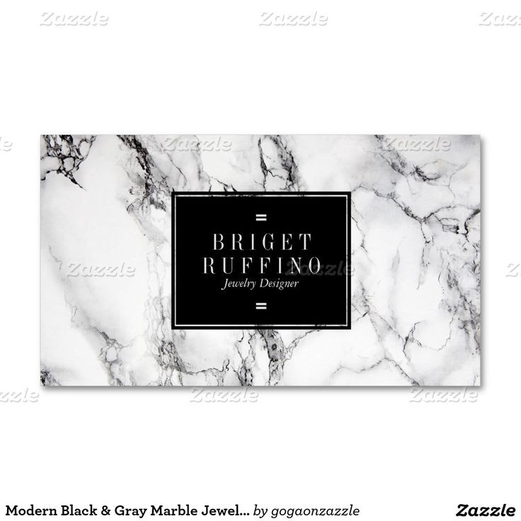 Modern Black & Gray Marble Jewelry Designer Pack Of Standard Business Cards