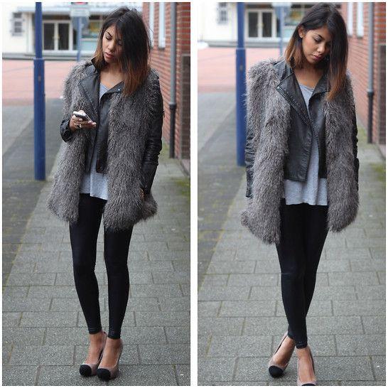 Grey fur vest