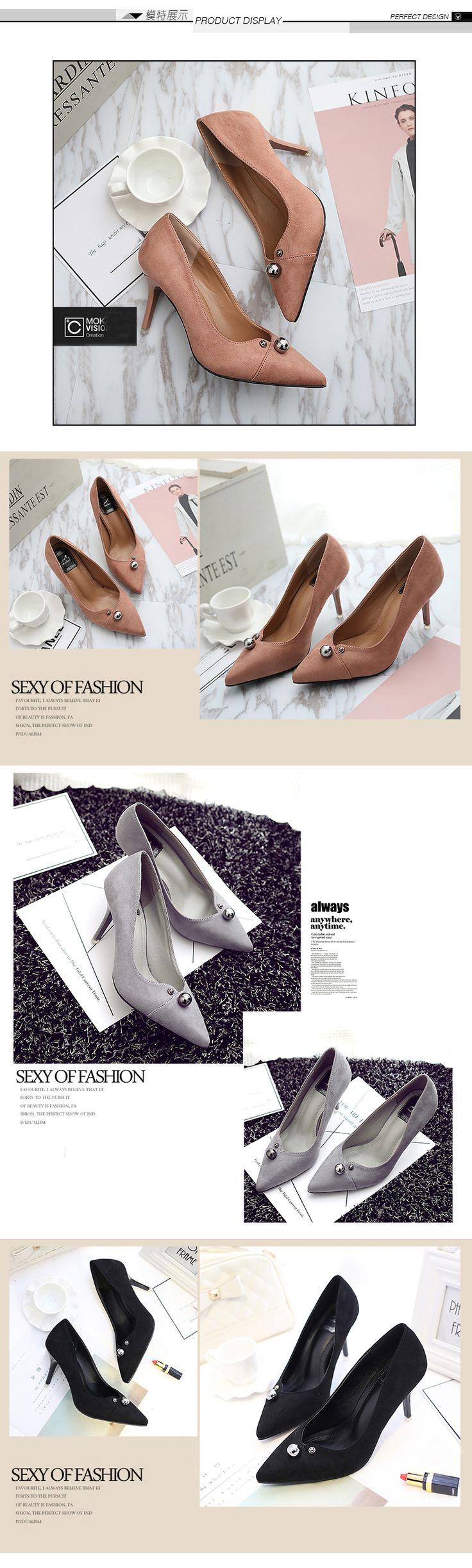 2017 весна замшевые туфли на высоком каблуке с тонкими женщин сексуальными заклепками яркие бусы указал мелкая рот оккупация рабочая обувь невесты обувь - Taobao