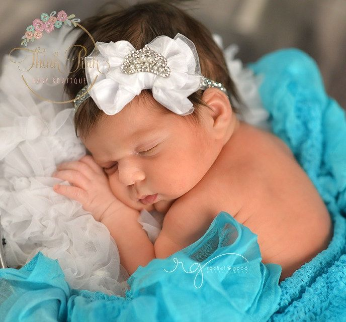 White baby HedbandBaby Headbands Baby tiara by ThinkPinkBows, $8.95