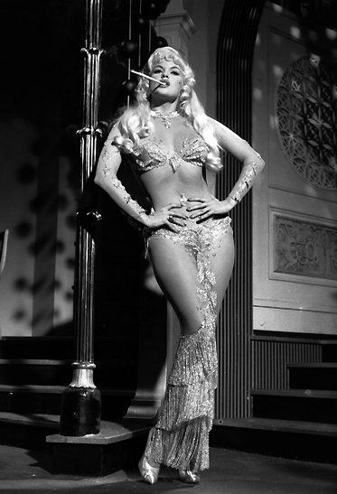 Think super-seductive 'Sea Siren' or 'Mermaid'. Love all the strategically placed appliques and sparkly adornment; excellent fabric choices. Totally tantalizing. (Pictured: vintage model Jayne Mansfield)