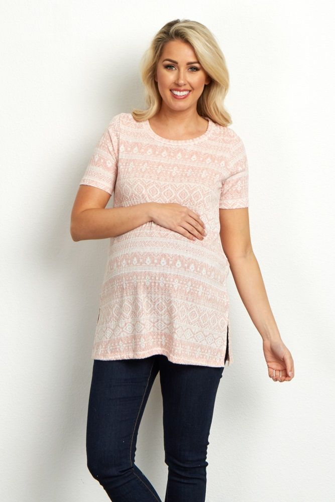 The trend that's so in this season, a printed and ribbed maternity top just in time for spring. This gorgeous pastel hue that will go beautifully with a denim skirt and a chic pair of strappy sandals. A soft and comfortable material will be sure to keep you comfortable day and night.
