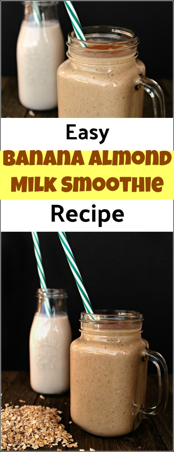 This tasty banana almond milk smoothie is both delicious and healthy. As an added bonus, the oats make it filling enough to be an on the go meal. A delicious breakfast smoothie or a delicious snack. almond milk banana smoothie, banana smoothie with almond milk, healthy smoothies with almond milk, smoothie with almond milk, banana smoothie via @justthewoods